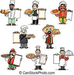 וקטור, תפריט, טבחים, איקונים, מסעדה