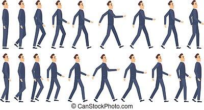 וקטור, 2d אנימציה, משחק, animation., הקלד, קמיע, ללכת, אותיות, שדון, ציור היתולי, מסגרות, עסק