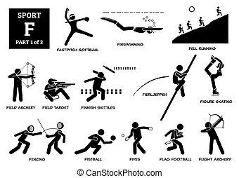 וקטור, *f*, אלפבית, משחקים, ספורט, pictogram., איקונים