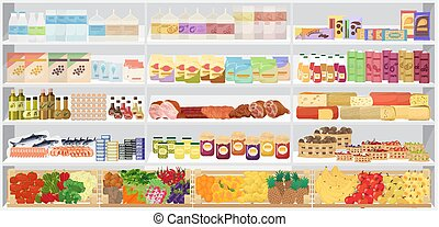 וקטור, illustration., מדפים, מרכול, shelfs, products., אחסן