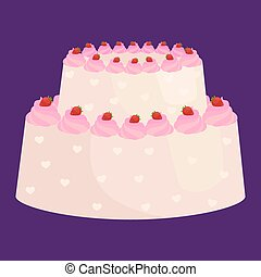 וקטור, illustration., קבע, מתוק, הפרד, קינוח, אוכל, עוגה של יום ההולדת, איקון