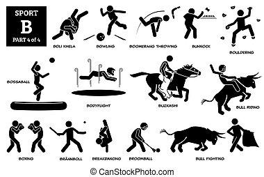 וקטור, pictogram., אלפבית, איקונים, *b*, ספורט, משחקים