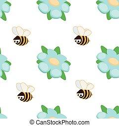 וקטור, seamless, מצחיק, קיץ, תפוז, כחול, ילדים, שכח אותי לא, פרוח, רקע, דבורות, לבן, pattern.