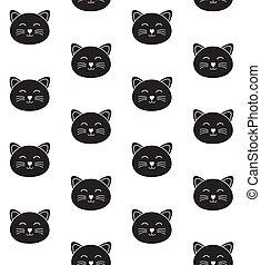 וקטור, seamless, תבנית, שחור, צפה, חתול, תאר, דירה