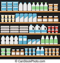 וקטור, shelfs, products., supermarket., חלוב