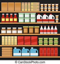 וקטור, shelfs, products., supermarket., מדפים