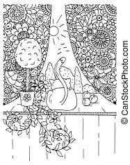 וקטור, zentangl, מדגיש, פרוח, frame., drawing., שרבט, דוגמה, חתול, adults., הזמן, נגד, white., הרהרי, exercises., שחור, curtains., לצבוע