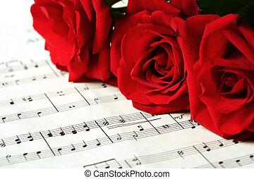 ורדים, דף, אדום, מוסיקה
