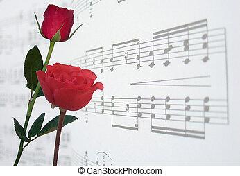 ורדים, מוסיקה, אדום