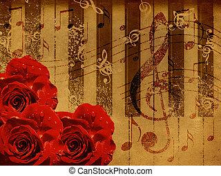ורדים, פסנתר, מוסיקה, רקע
