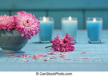 ורוד, חרצית, פרחים, נרות
