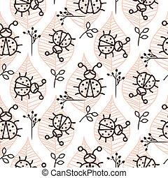 ורוד, לאדיבאג, עוזב, pattern., seamless, וקטור, קו, לבן