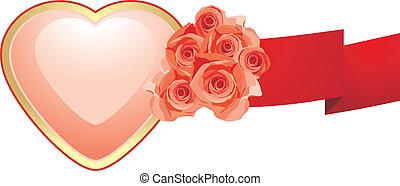 ורוד, לב, סרט, ורדים