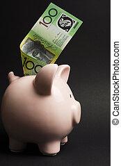 ורוד, מושג, כסף, דולר, vertical., נגד, חיסכונות, רקע, שחור, חזרזיר, note., אוסטרלי, 100, סמוך