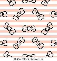 ורוד, bowknots, pattern., seamless, וקטור, *עם פסים, לבן