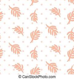 ורוד, pattern., עוזב, פולקה, seamless, וקטור, דקל, נקודה לבנה