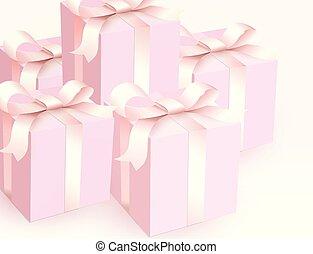 ורוד, ribbon., קסם, illustration., קופסות של מתנה, וקטור, סגור, חתונה, רך, הבט., ילדה, סטין, תמוך, יפה