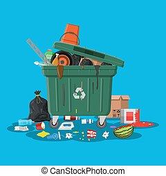 זבל, להשתפך, מכולה, מלא, trash., ארגז