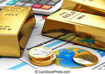 זהב, דוחות, כספי, מטבעות, מטילים