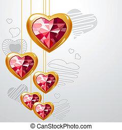 זהב קל, אפור, רקע, לתלות, לבבות, אודם