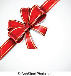 זהב, קשת של מתנה, וקטור, סרט, אדום