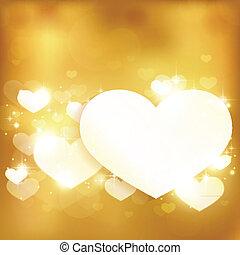 זהוב, אהוב, רקע, לב, אורות, מבריק, כוכבים
