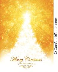 זהוב, התפוצץ, אור, עץ, שמח, חג המולד לבן, כרטיס