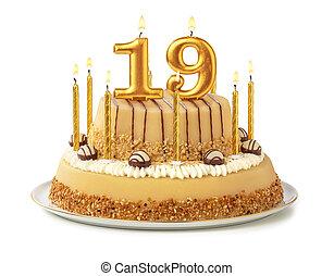 זהוב, חגיגי, 19, נרות, -, מספר, עוגה