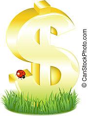זהוב, חתום, דולר, דשא, לאדיבאג