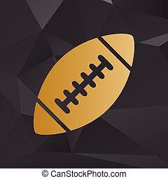 זהוב, סיגנון, פשוט, כדורגל, אמריקאי, רקע, polygons., ball.