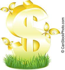 זהוב, עוזב, דשא, סימן של דולר