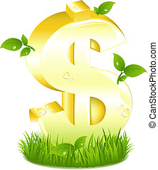 זהוב, עוזב, סימן של דולר, דשא ירוק