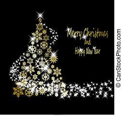 זהוב, עשה, eps10, פתיתות שלג, זהב, עץ, דוגמה, רקע., וקטור, שחור, כוכבים, חג המולד