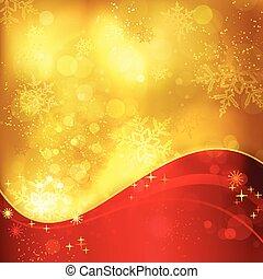 זהוב, פתיתות שלג, אור, השפעות, רקע, חג המולד, אדום