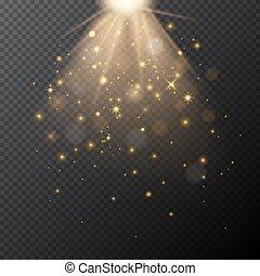 זהוב, קסם, effect., אור, bokeh, וקטור, שקוף, הגחל