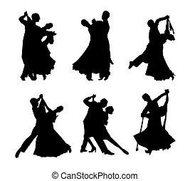 זוגות, צלליות, קבע, וקטור, לרקוד