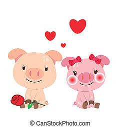 זוג, דוגמה, חזיר