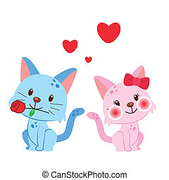 זוג, דוגמה, חתול