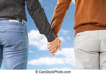 זוג הומוסקסואלי, , להחזיק ידיים, קרוב, זכר