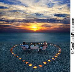 זוג רומנטי, חלק, צעיר, ארוחת ערב, החף