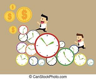 זמן, יום, עסק, איש עסקים, דרך, clocks, time., רוץ, שיט, מהר