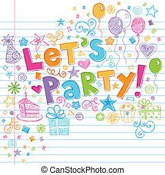 זמן, sketchy, מפלגה, יום הולדת, doodles