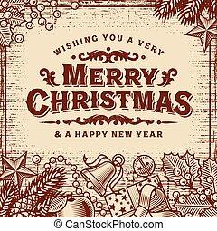 חג המולד, בציר, שמח, חום, כרטיס