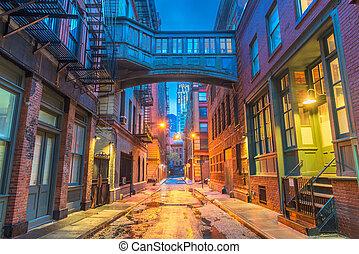חדש, alleyways, יורק, עיר