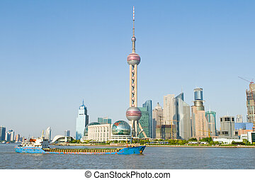 חדש, china., מזרחי, מגדל, רקע, ישן, הפרד, שמיים, פנינה, שנגהיי, לעבר, פאדונג, כחול, טלויזיה, shanghai., נחל, huangpu, פאדונג