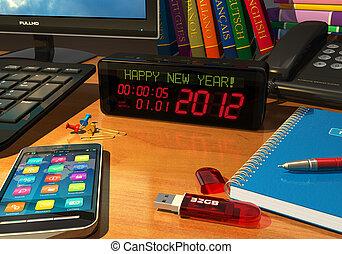 """חדש, """"happy, מסר, שעון, year!"""""""
