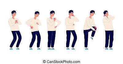 חולה, זכר, כאב, בעיות, שפעת, headache., בחור, ציור היתולי, חולה, מחלה, שירותי בריות, בן אדם, pain., איש, תרופה, קבע, הפרד, בעלת, גוף, backache., וקטור, בטן, human.