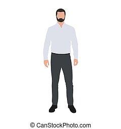 חולצה כחולה, עסק, אור, דוגמה, וקטור, standing., איש
