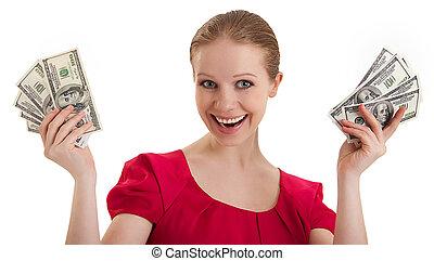 חולצה, מצחיק, אישה, יפה, דולרים, מחזיק, צעיר, כסף, הפרד, אמריקאי, רקע, אדום לבן