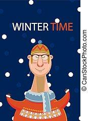 חורף, השלג, דוגמה, happy's, רקע., וקטור, זמן, איש